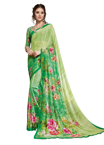 Green Georgette Resham embroidery with Digital Printed Saree VipHyp19525