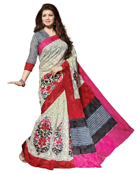 Cream Art Silk Printed Work Saree VipHyp21432