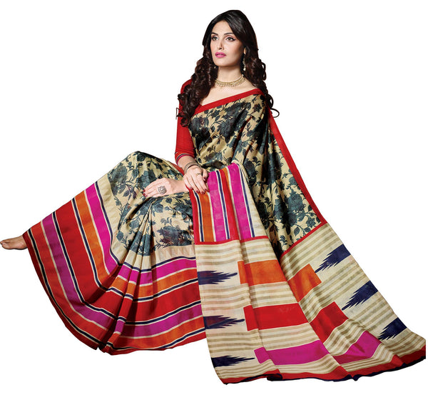 Beige Black Art Silk Printed Work Saree VipHyp21433