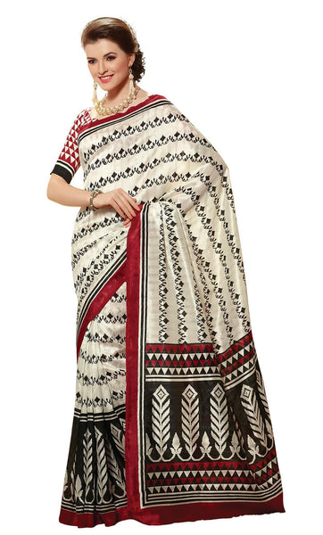 Cream Art Silk Printed Work Saree VipHyp21434