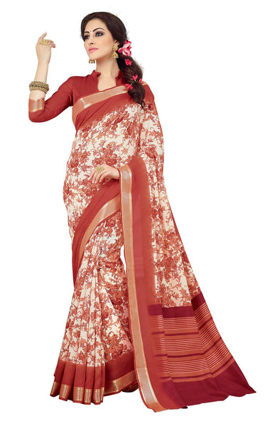 Cream Red Art Silk Printed Work Saree VipHyp21454