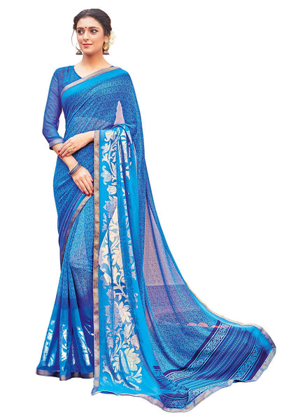 Blue Georgette Printed and Lace border Saree VipHyp30107