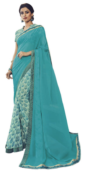 Blue Georgette Printed and Lace border Work Saree VipHyp30509