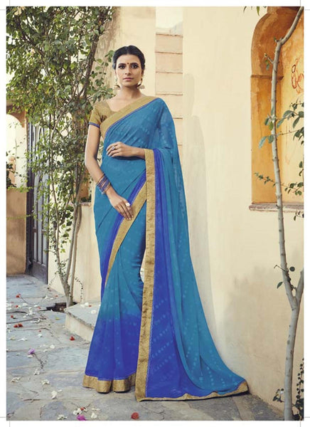 Blue Chiffon Brasso Printed and Lace border Work Saree VipHyp30601