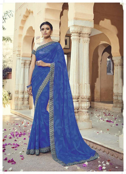 Blue Georgette Brasso Printed and Lace border Work Saree VipHyp30603
