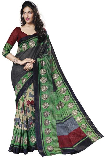 Black Green Cream Art Silk Printed Work Saree VipHyp30709