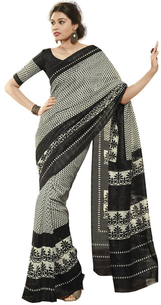 Black Cream Art Silk Printed Work Saree VipHyp30717