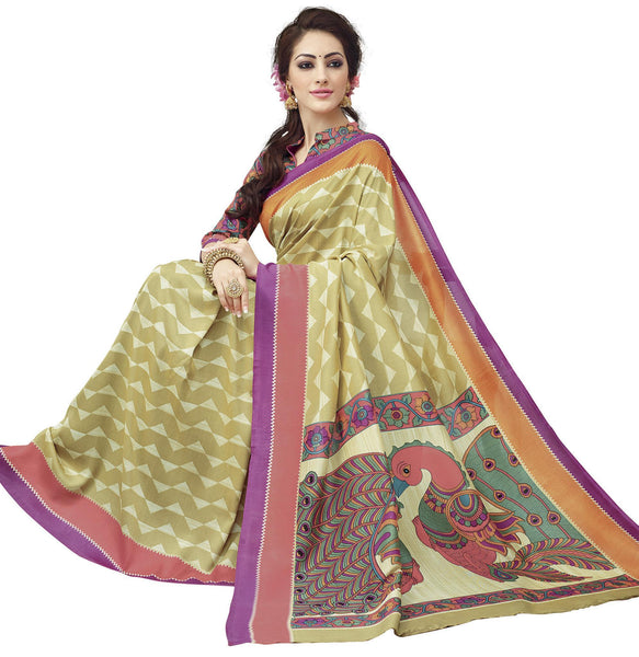 Cream Art Silk Printed Work Saree VipHyp30737