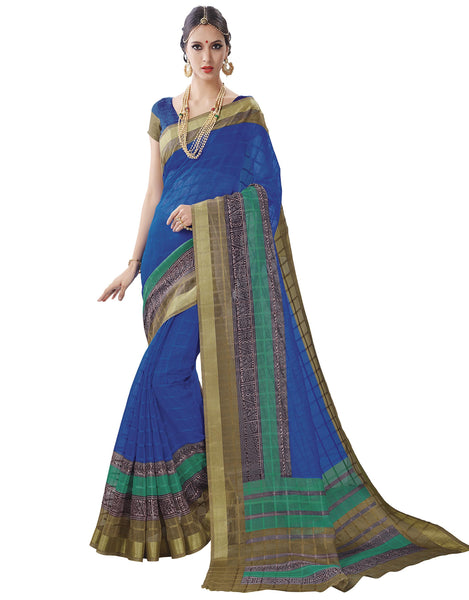 Blue Art Silk Printed Work Saree VipHyp30808