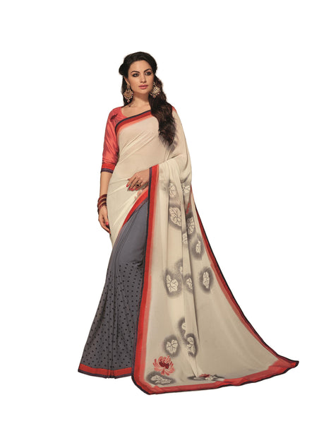 Cream Grey Georgette Printed with stone work and Lace border Saree VipHyp31006