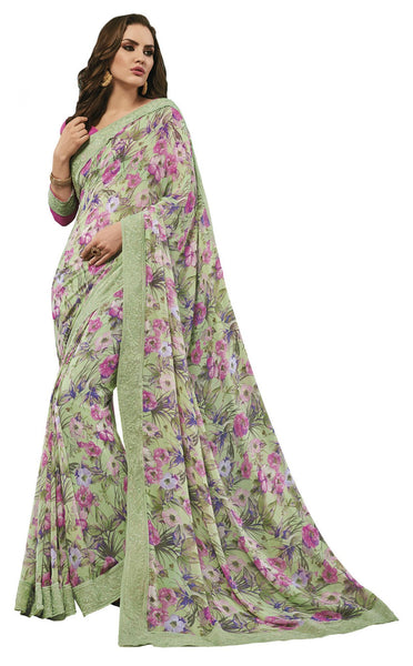 Green Georgette Printed and Lace border Saree VipHyp31135