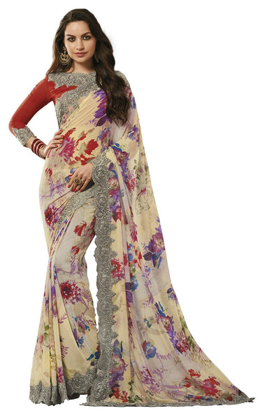 Cream Georgette Printed and Lace border Saree VipHyp31137