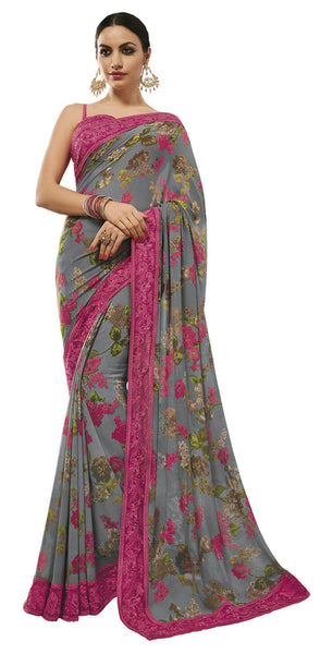 Grey Georgette Printed and Lace border Saree VipHyp31142