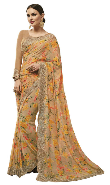 Beige Georgette Printed and Lace border Saree VipHyp31144