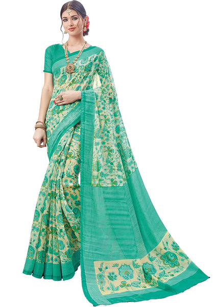 Green Cream Art Silk Printed Work Saree VipHyp31717
