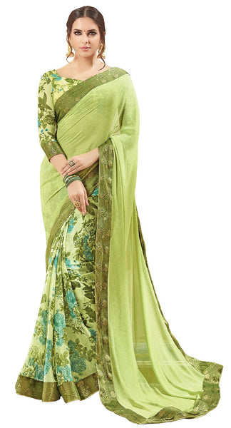 Green Georgette Printed and Lace border Work Saree VipHyp32216