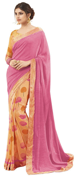 Beige Pink Georgette Printed and Lace border Work Saree VipHyp32227