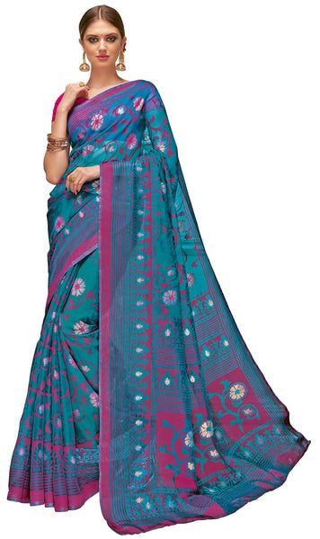 Blue Art Silk Brasso Printed Saree
