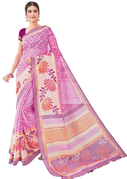Baby Pink Cotton Brasso Printed Saree VipHyp33036