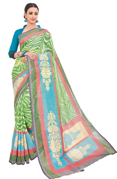 Green Cotton Brasso Printed Saree VipHyp33038