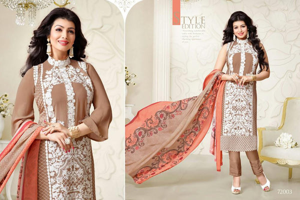 Abrisha Beige Georgette  Dress Material,ABSH72003
