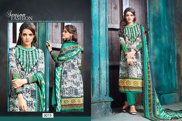 Alaynaa Green Cotton Dress Material,ALN9015