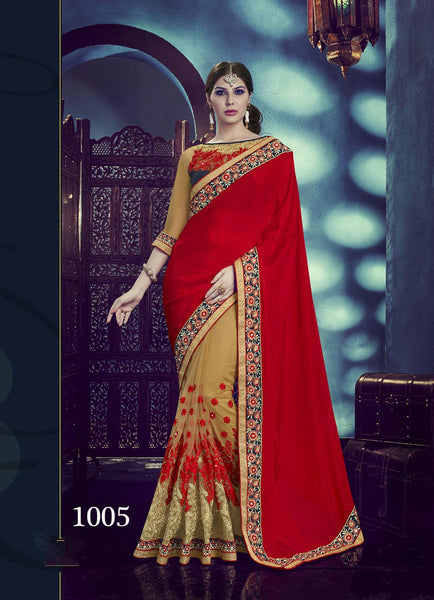 Carnival Multicolor  Chinnon Designer Heavy worked Saree,CNV1005