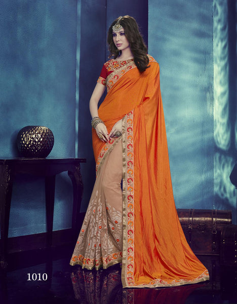 Carnival Multicolor Silk & Net Designer Heavy worked Saree,CNV1010