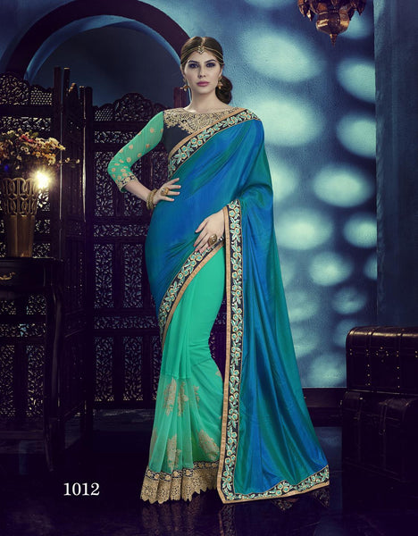 Carnival Multicolor Silk Designer Heavy worked Saree,CNV1012