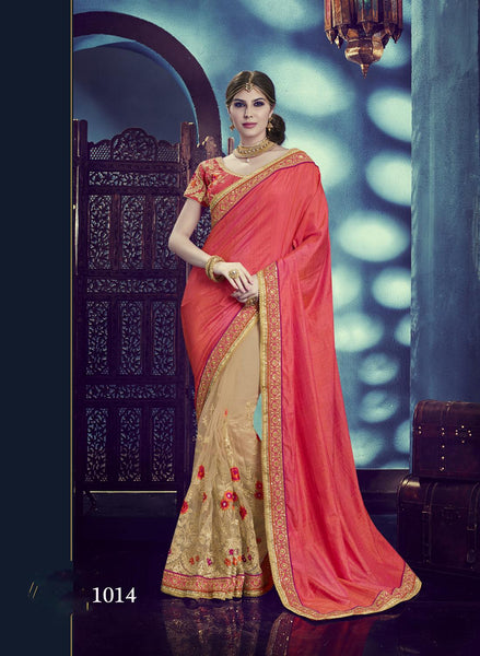Carnival Multicolor Silk & Net Designer Heavy worked Saree,CNV1014