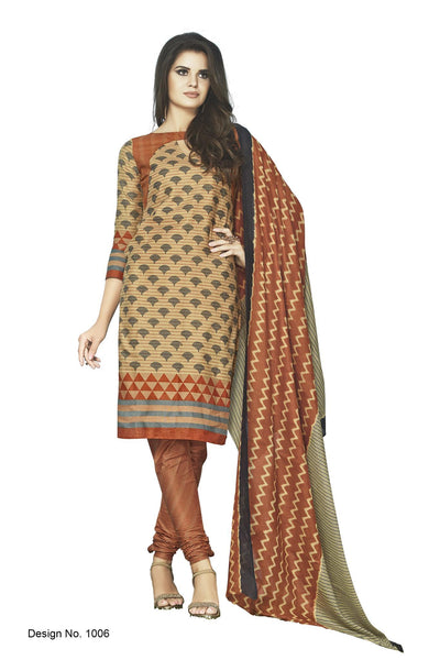 Sunaina Brown Cotton Printed Work Dress Material, Durge1006