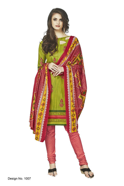 Sunaina Green Cotton Printed Work Dress Material, Durge1007