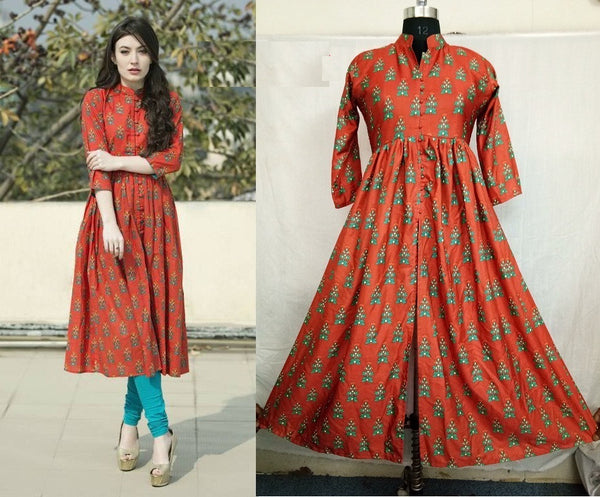 FG Cotton Mix Anarkali Kurti,FGLRCD2024