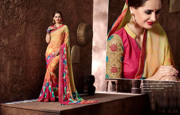 Khanak Multicolor  Georgette Digital Printed saree,KHN4006