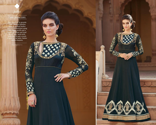 Modern Princess Black Georgette Designer Gown,MDP1301
