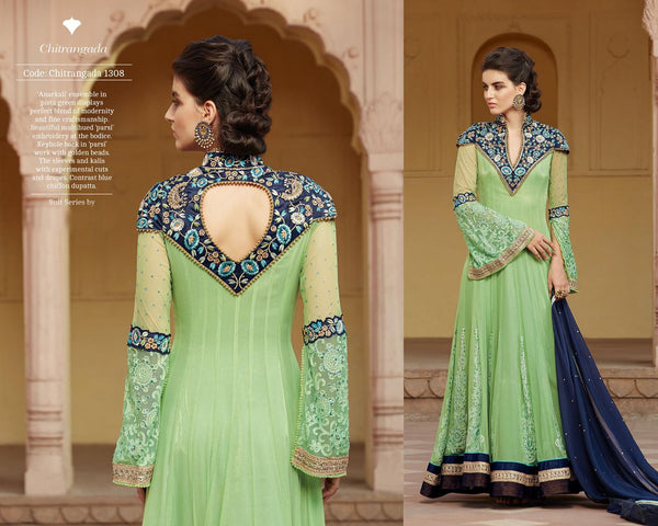 Modern Princess Green Net Designer Gown,MDP1308