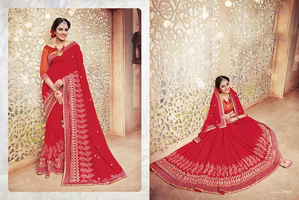 Celebration Multicolor  Georgette Designer Worked Saree,SCLB7746