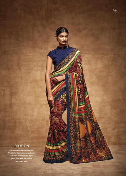 "THE ""VINTAGE"" COLLEC Multicolor Tussar Silk HEAVY DIGITAL PRINT Saree,TVC704"