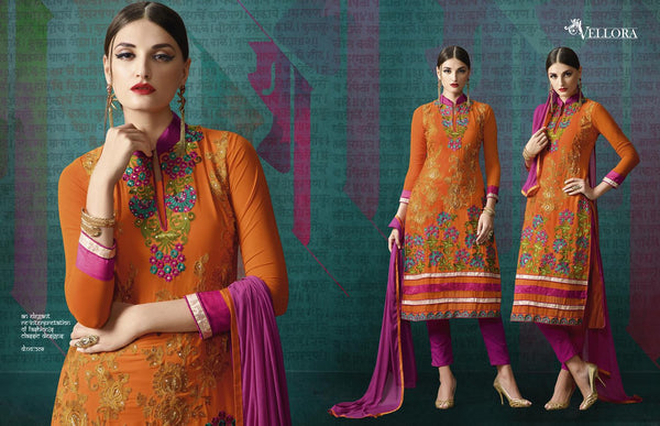 Vellora Vol 2 Orange  Georgette Designer Salwar Kameez,2VLR208
