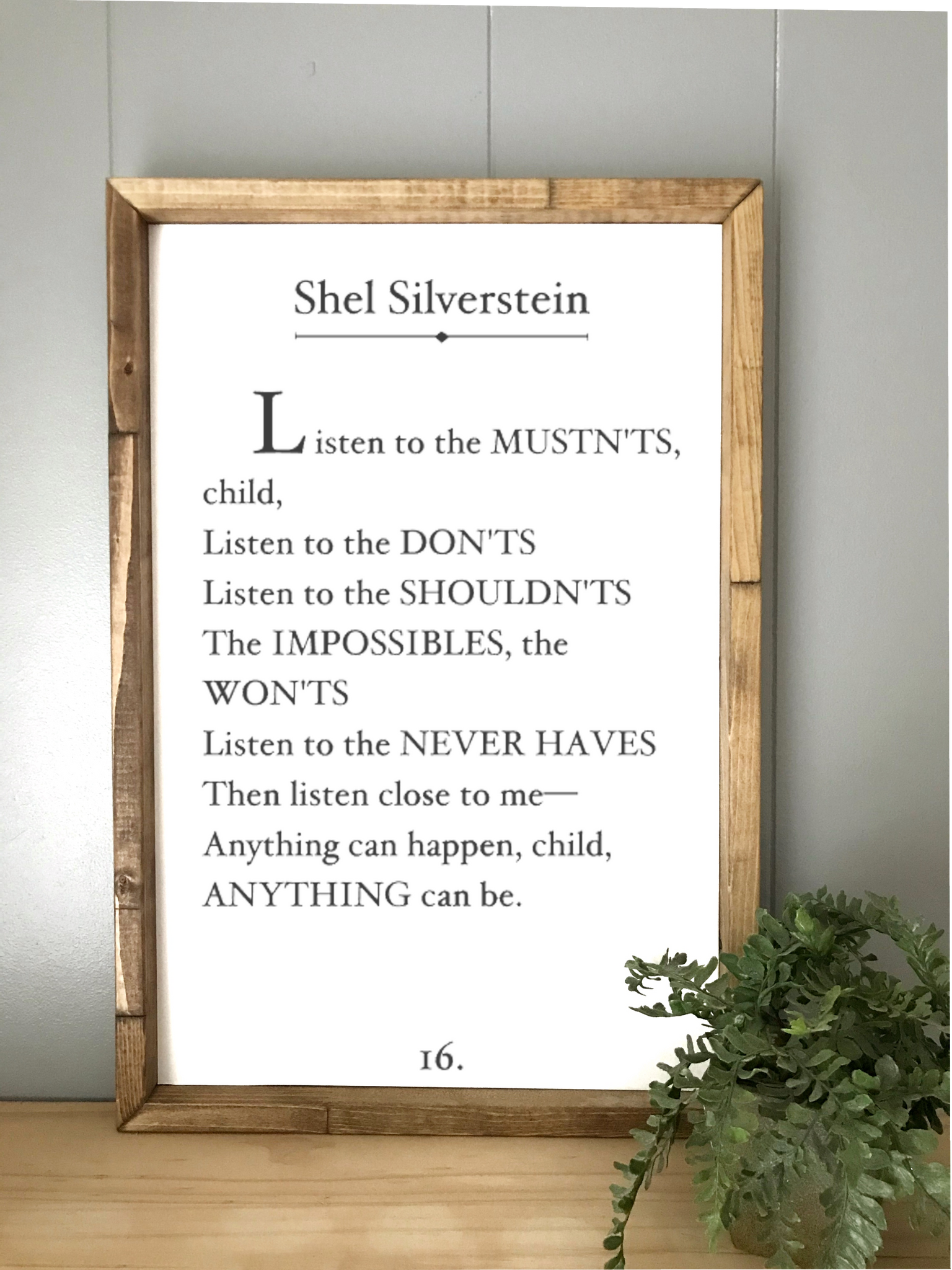 Shel Silverstein Book Page Sign