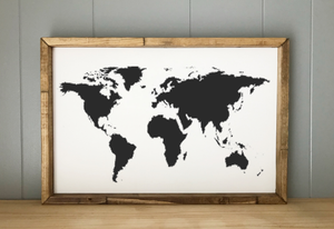 World Map Framed Sign