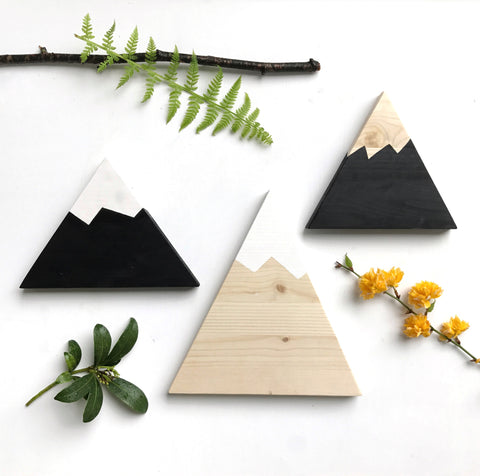 Monochrome Painted Mountain Plaques