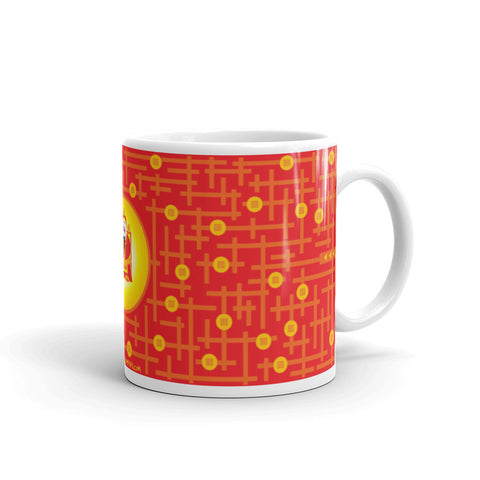 Finding god of fortune puzzle mug