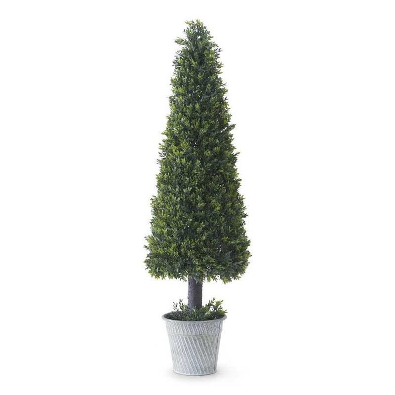 "40"" Boxwood Cone Tree Topiary in Metal Pot"