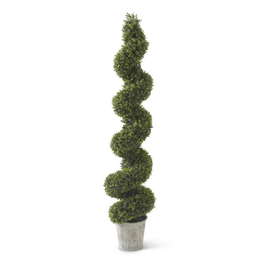 "60"" Boxwood Spiral Topiary in Metal Pot"