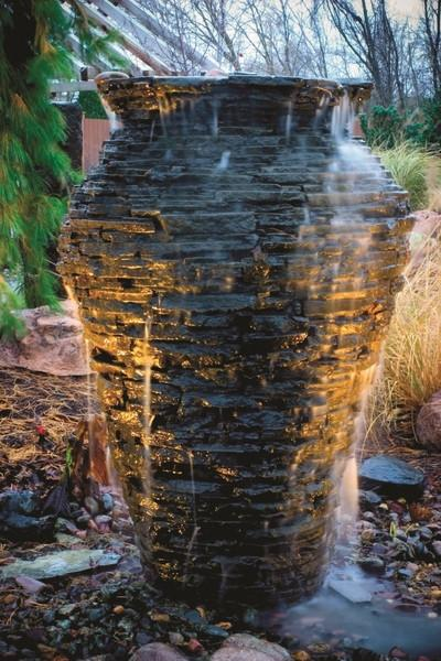 Stacked Slate Urn Landscape Fountain Kit