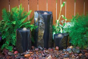 Double-Textured Basalt Columns Set of 3