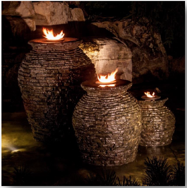 Fire Fountain Add-On Kit for Stacked Slate Urn - Direct Lighting Outdoor Lifestyles