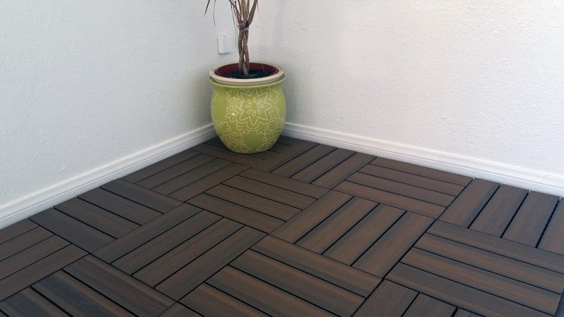 4 Slat Wood-Plastic Composite Interlocking Decking Tile - (Walnut Finish - Set of 11 Tiles)