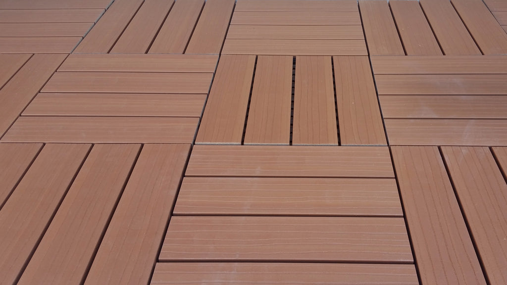 4 Slat Wood-Plastic Composite Interlocking Decking Tile - (Light Brown Finish - Set of 11 Tiles)
